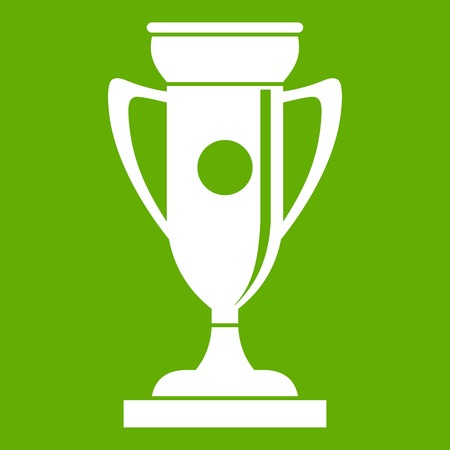 Winning cup icon white isolated on green background. Vector illustration Illustration