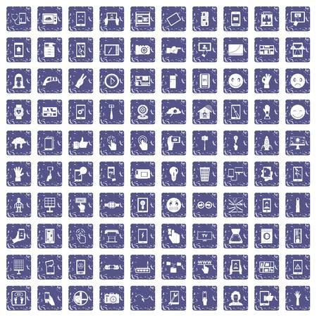 白い背景ベクトルイラストに隔離グランジスタイルのサファイアカラーで設定された100のタッチスクリーンアイコン 写真素材 - 94074162