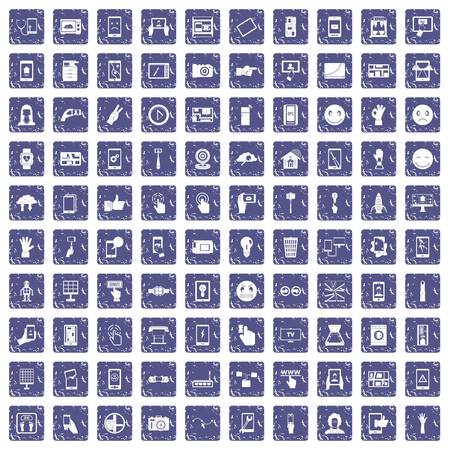 100 touch screen icons set in grunge style sapphire color isolated on white background vector illustration