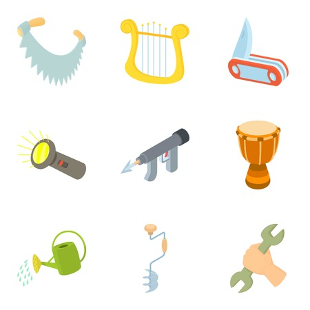 Hand craft icons set. Cartoon set of 9 hand craft vector icons for web isolated on white background
