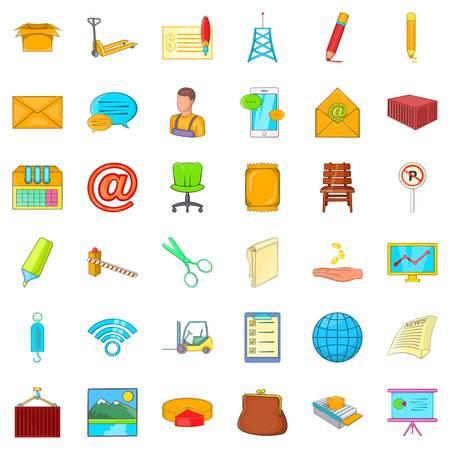 Postal correspondence icons set. Cartoon set of 36 postal correspondence vector icons for web isolated on white background