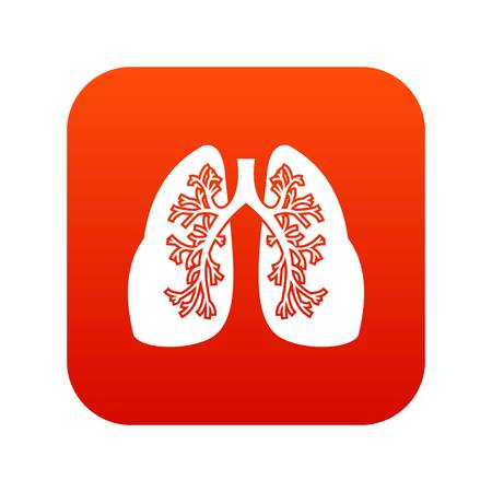 Lungs icon digital red for any design isolated on white vector illustration
