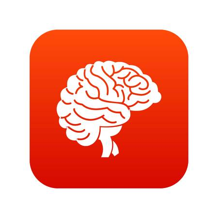 Brain icon digital red for any design isolated on white vector illustration Illustration