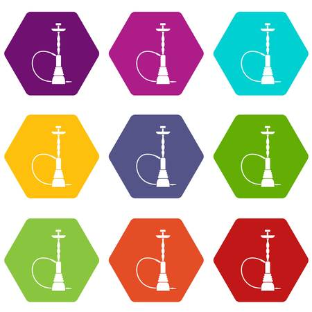 Hookah icon set many color hexahedron isolated on white vector illustration Illustration
