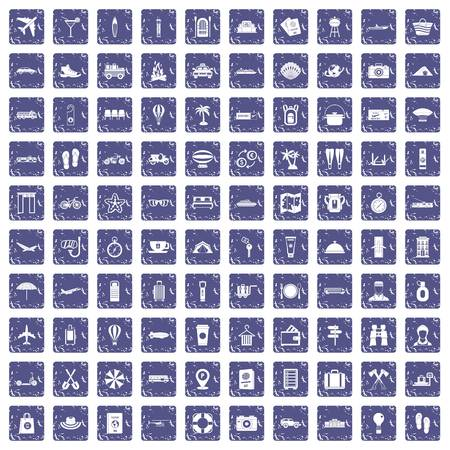 100 travel time icons set in grunge style sapphire color isolated on white background vector illustration