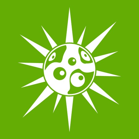 Round cell virus icon white isolated on green background. Vector illustration Illustration