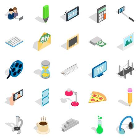 Peculiarity icons set. Isometric set of 25 peculiarity vector icons for web isolated on white background Ilustração
