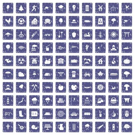 100 tree icons set in grunge style sapphire color isolated on white background vector illustration Stock Illustratie