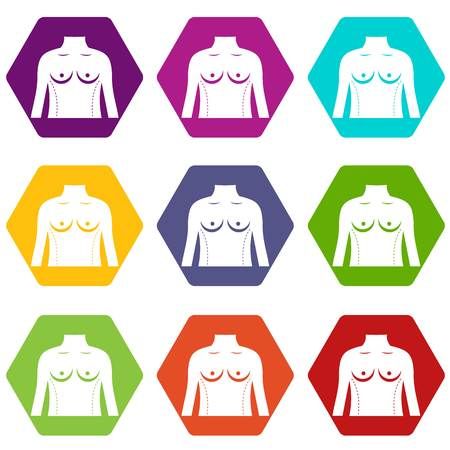 Plastic surgery of torso icon set many color hexahedron isolated on white vector illustration Vectores