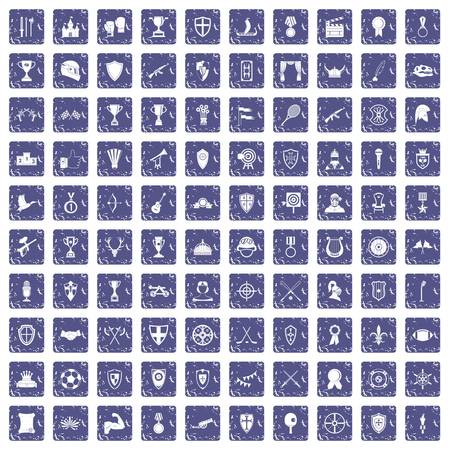 100 trophy and awards icons set in grunge style sapphire color isolated on white background vector illustration