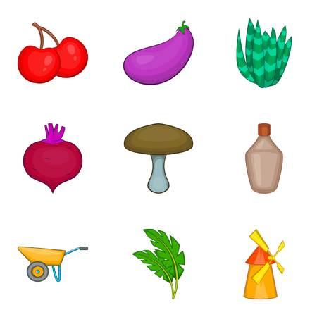 Produce icons set. Cartoon set of 9 produce vector icons for web isolated on white background