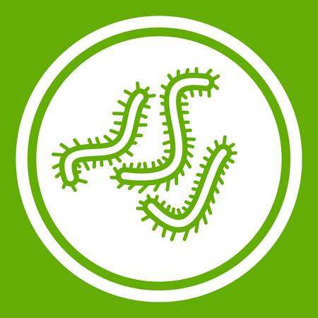 Lot of bacteria icon white isolated on green background. Vector illustration