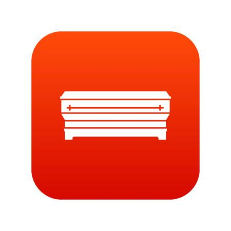 Coffin icon digital red for any design isolated on white vector illustration