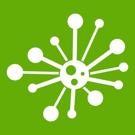 Round bacteria icon white isolated on green background. Vector illustration