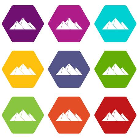 Pyramids icon set many color hexahedron isolated on white vector illustration Illustration