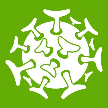 Round viral bacteria icon white isolated on green background. Vector illustration