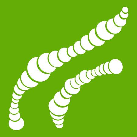Spiral bacteria icon white isolated on green background. Vector illustration