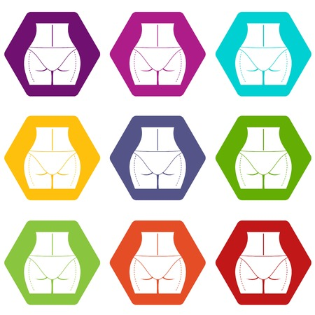 Woman buttocks prepared to plastic surgery icon set color hexahedron