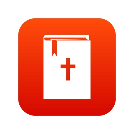 Bible icon digital red for any design isolated on white vector illustration