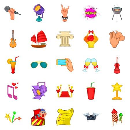 Ceremonial icons set, cartoon style