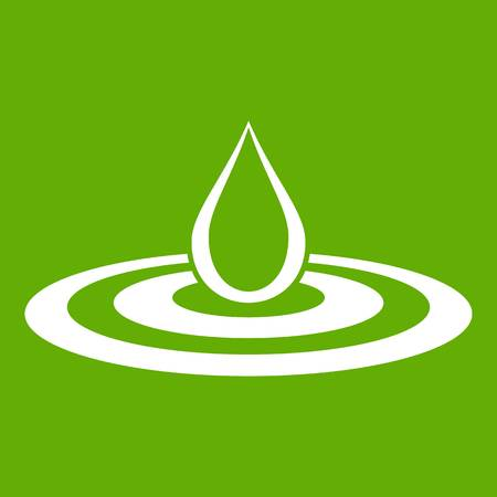 Water drop and spill icon white isolated on green background. Vector illustration Illustration