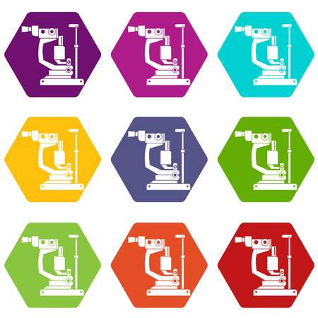 Phoropter icon set many color hexahedron isolated on white vector illustration Illustration