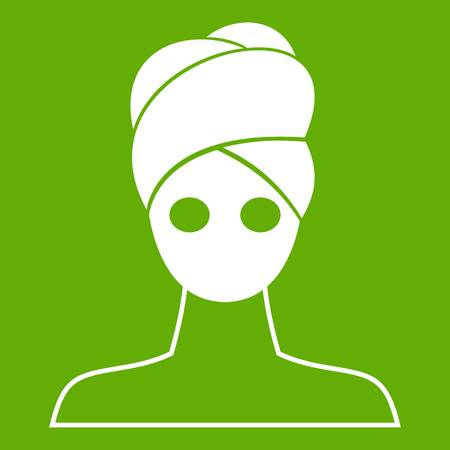 Spa facial clay mask icon white isolated on green background. Vector illustration