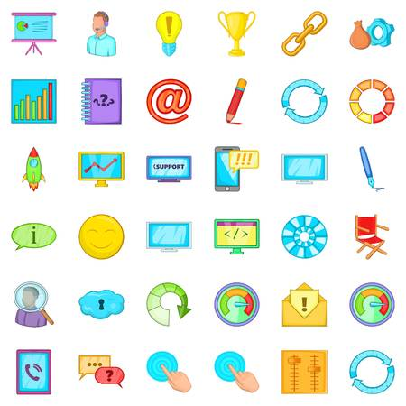 Management icons set. Cartoon set of 36 management vector icons for web isolated on white background Illustration