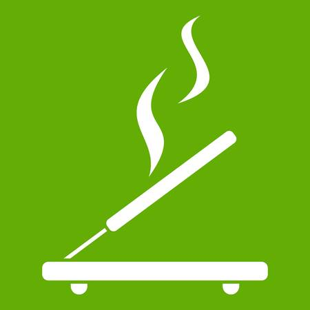 Incense sticks icon white isolated on green background. Vector illustration