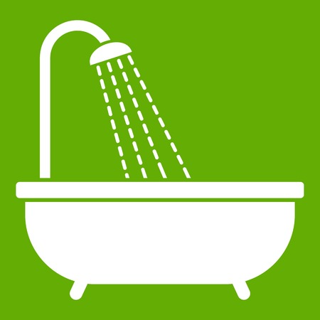Shower icon white isolated on green background. Vector illustration