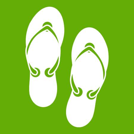 Flip flop sandals icon white isolated on green background. Vector illustration 일러스트