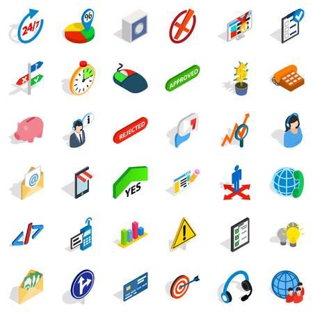 Conjunto de ícones de oficial executivo. Isométrico conjunto de 36 ícones de vetor executivo diretor para web isolado no fundo branco.