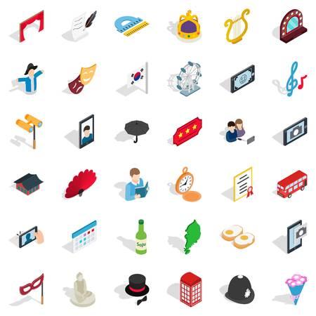 Conjunto de iconos de etiqueta, estilo isométrico Ilustración de vector