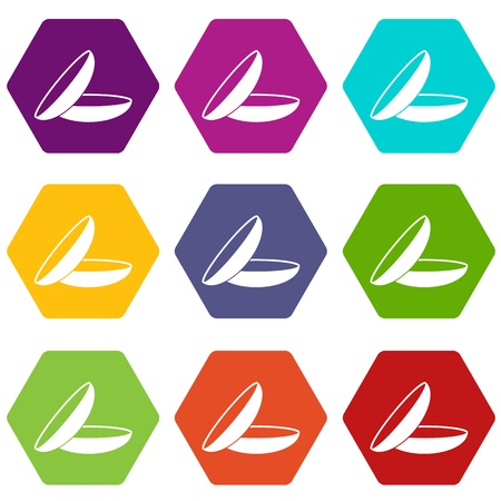 Contact lenses icon set many color hexahedron isolated on white vector illustration