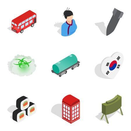 Asian history icons set, isometric style