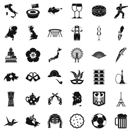 Transformation icons set, simple style