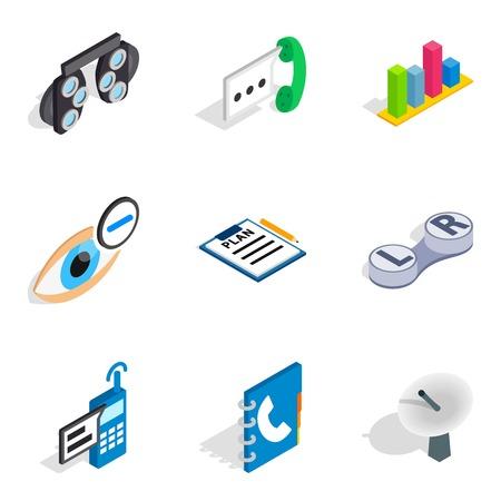 Sophisticated technology icons set, isometric style