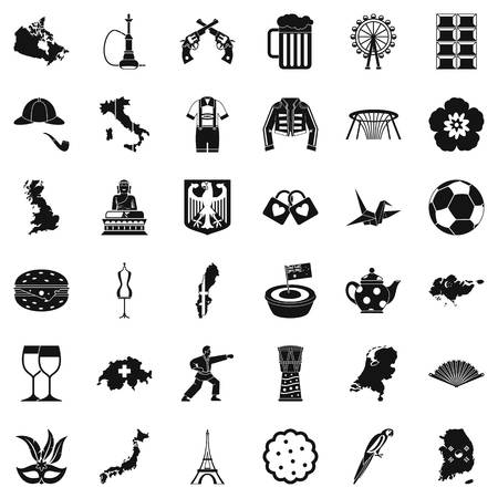 World map icons set, simple style