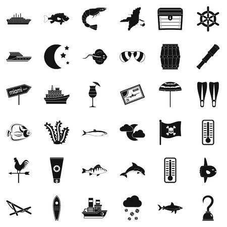 Sea environment icons set, simple style Archivio Fotografico - 94530800