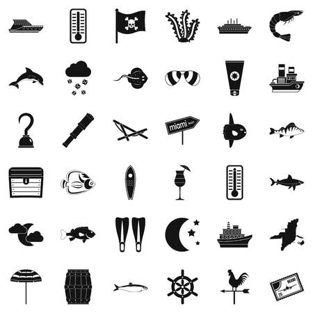Sea conditions icons set, simple style Archivio Fotografico - 94377263