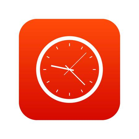 Wall clock icon digital red