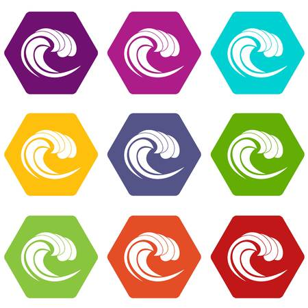 Wave of sea tide icon set many color hexahedron isolated on white vector illustration