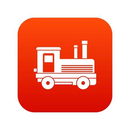 Locomotive icon digital red for any design isolated on white vector illustration Illustration