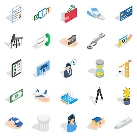 Merchant icons set, isometric style