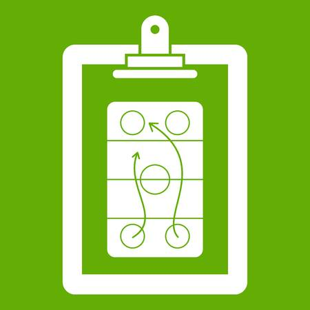 Game plan icon white isolated on green background. Vector illustration