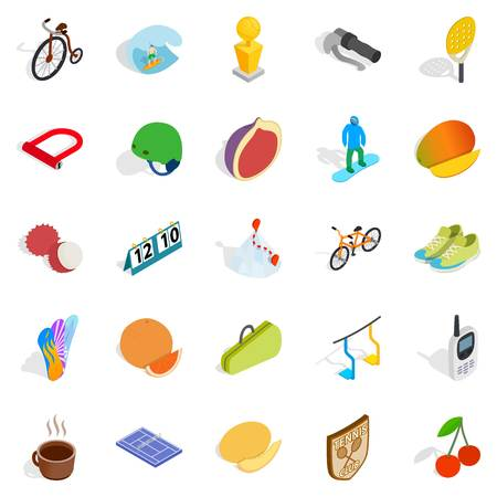 Game training icons set. Isometric set of 25 game training vector icons for web isolated on white background