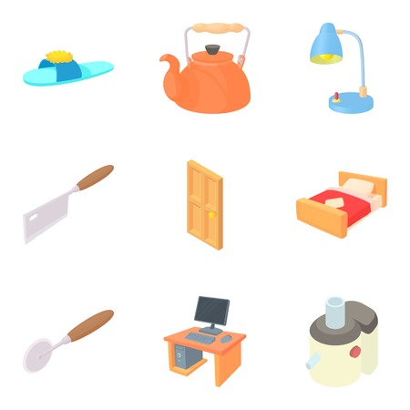 Home furnishings icons set, cartoon style