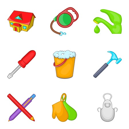 Home environment icons set, cartoon style