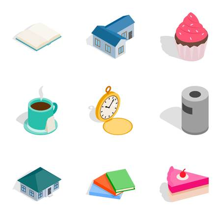Home conditions icons set, isometric style