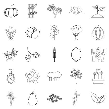 Alive world icons set, outline style Standard-Bild - 94533841